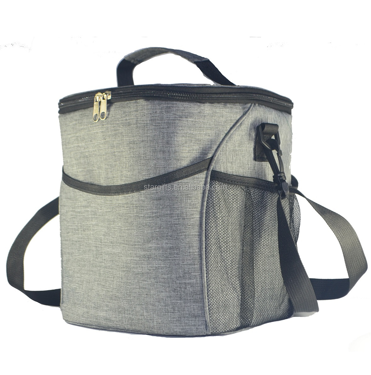 2020 New Fashion Water-resistant Custom 300D Grey Whole Frozen Foods Ice Fish Large Big Cooler Bags With Mesh Pocket