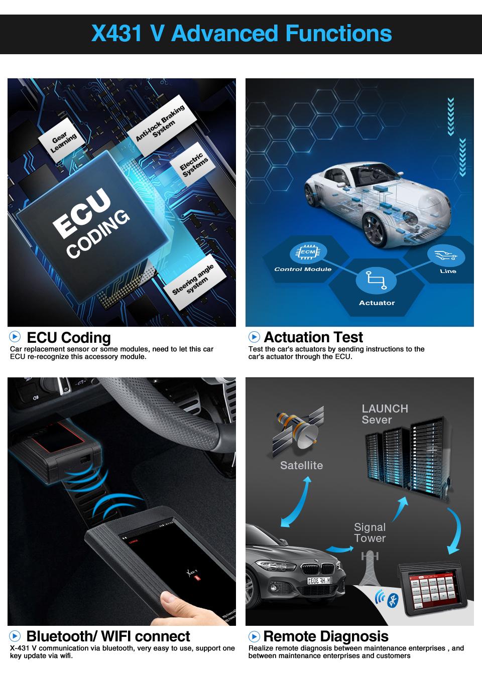 """2020 모델 출시 X431 V 8 """"강력한 발사 X431 5C 무료 업데이트 인터넷 X-431 V 8 인치 블루투스/WiFi 글로벌 버전"""