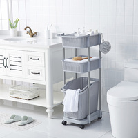 3-Tier Laundry Basket Cart Rolling Storage Cart Plastic Clothing Toy Storage Organizer Laundry Sorter with Removable Basket
