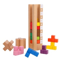 Wooden Brain Tower Puzzle Toy Game Children Tetris for Early Education