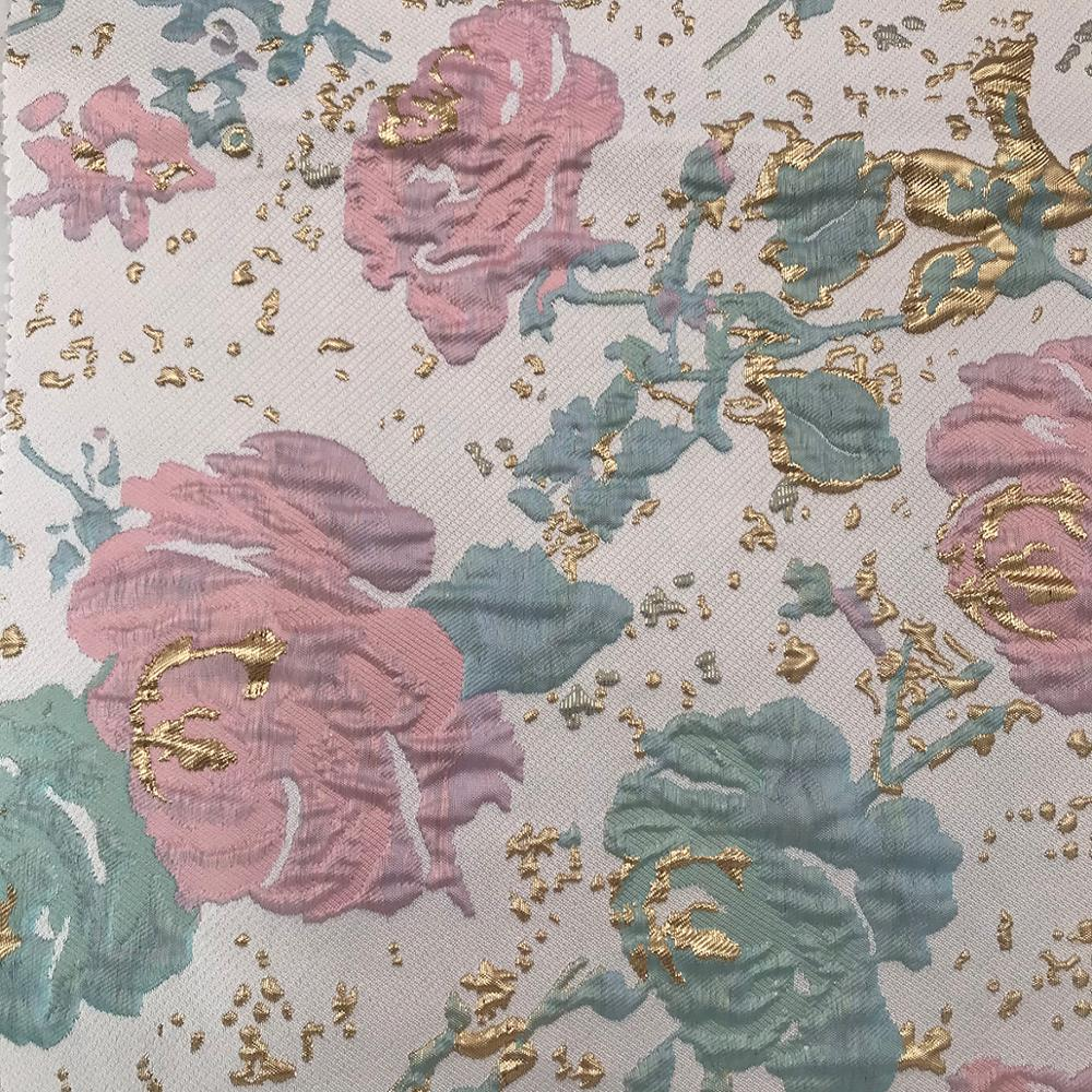 New Design Woven Floral Damask 70% T 24% R 6% Metallic Brocade Fabric For Garment