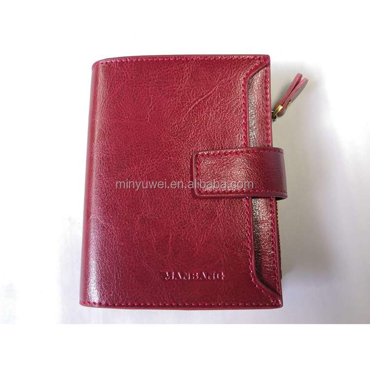 red color oil style leather fashion women wallet short design lady wallet tri-fold wallet