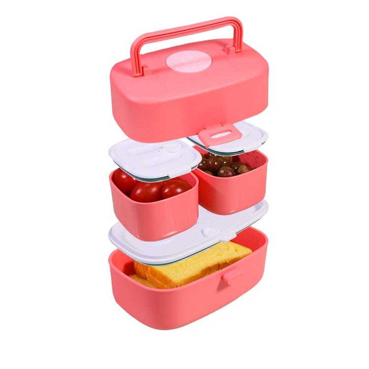2 Compartiment Rode Traditionele Bento Lunchbox Accessoires Voor Kids Kinderen
