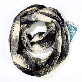 Women Winter Checked Pattern Cashmere Warm Plaid Pocket Infinity Scarf