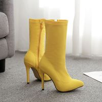 Sexy Ladies fashion neon color 2019 New arrival lycra women ankle boots
