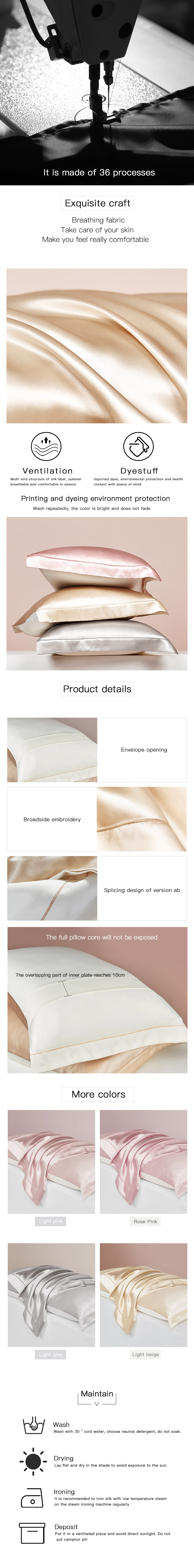 custom logo 100% Mulberry Silk Pillowcase for Hair and Skin Health, with Piping, Envelope Closure