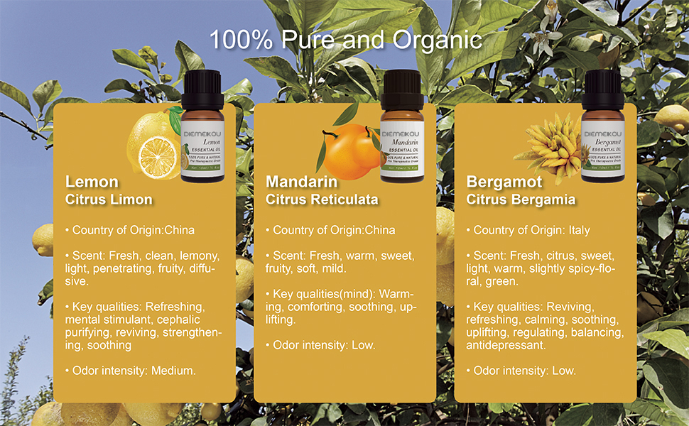 OEM Citrus Essential Oils Set - Cold Pressed Aromatherapy Kit for Diffuser, Soap Making, Bath and Skin Care 3 Packs - 10ml
