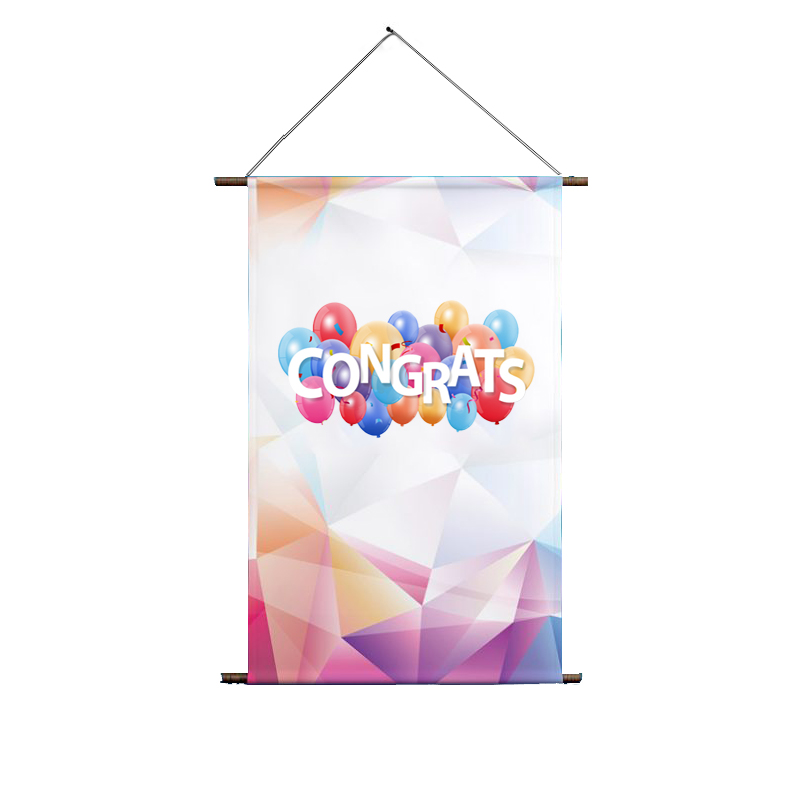 Custom 230g Polyester Outdoor Wall Scrolls/Wall Mounted Hanging Vertical Banner for Decoration