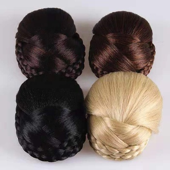Hot selling fashion dome quality fashion braid easy adorn round chignon hair pieces bun synthetic high temperature chignon