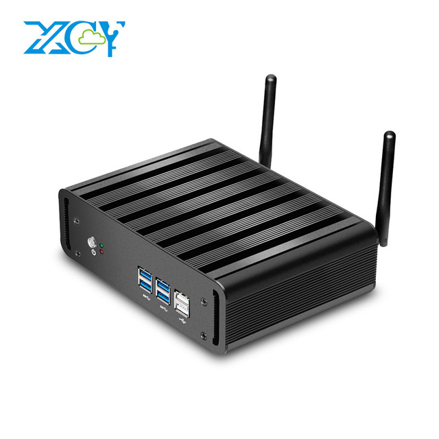 XCY Intel Pentium 4405U 4415U Mini PC Fanless Linux 6xUSB VGA WiFi Gigabit Ethernet HTPC Office Micro <strong>Computer</strong>