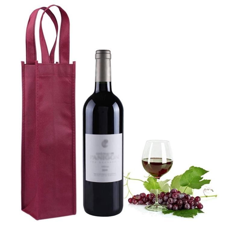 प्रचार कस्टम टुकड़े टुकड़े में पुन: प्रयोज्य पीपी गैर बुना कपड़े के लिए ढोना शॉपिंग डबल बोतल रेड वाइन बैग