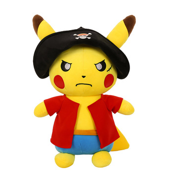 2020 New Popular Cartoon Plush Anime Pikachu Cos One Piece Luffy Zoro Sanji Action Poke mon Stuffed Doll Collection For Gifts