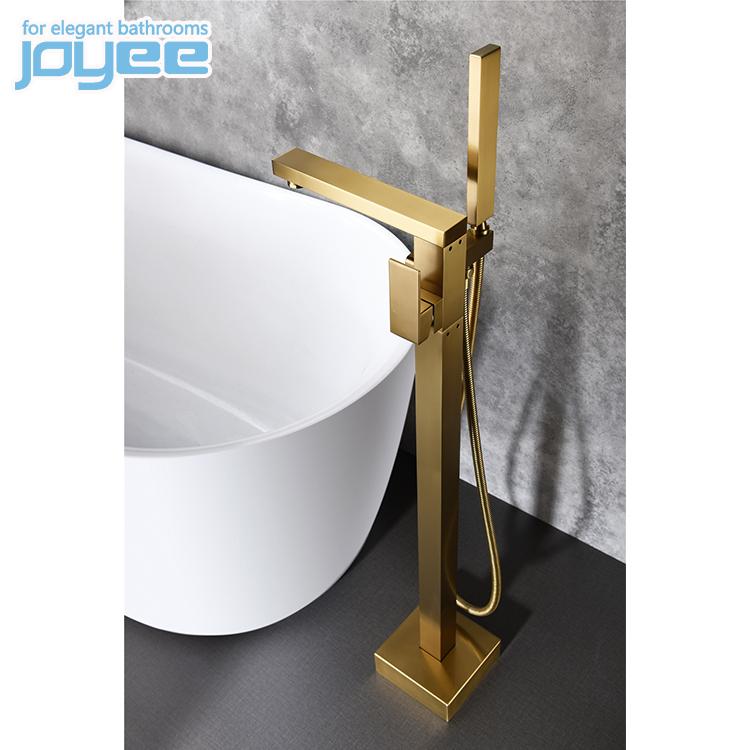 JOYEE China manufacturer modern freestanding bathtub faucet brass freestanding floor faucet in luxury golden color