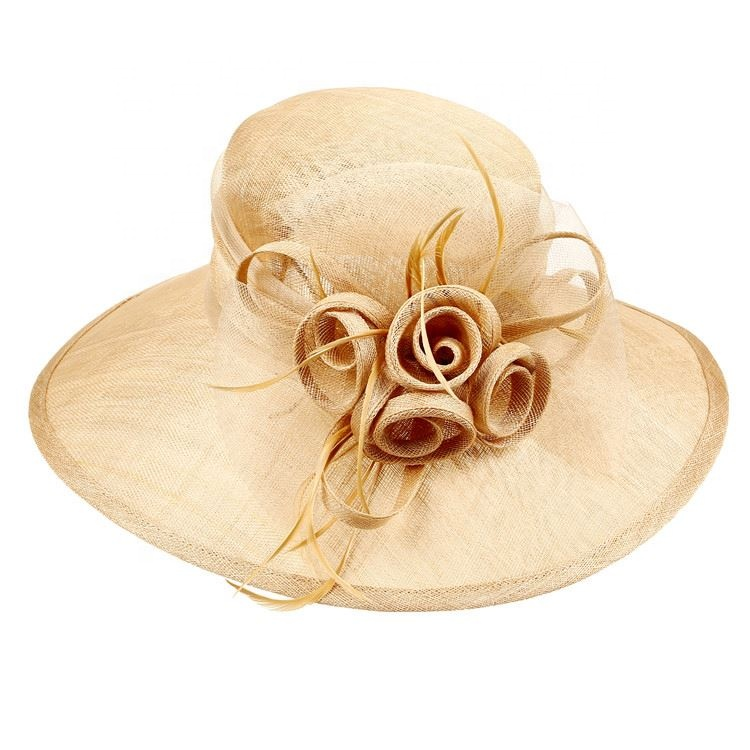 New Fashion Sinamay Church Fancy Design Women Hat Dress Hat With Feather