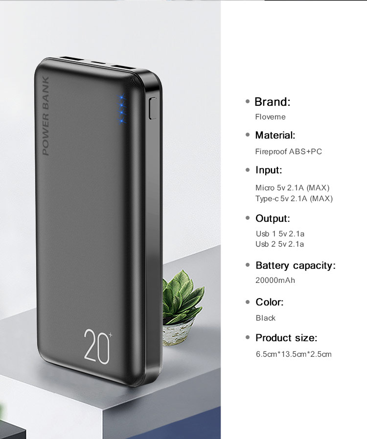 OEM ROHS Fast Charge Mobile Battery Portable Charger Powerbank 20000 with LOGO for Xiaomi For Huawei