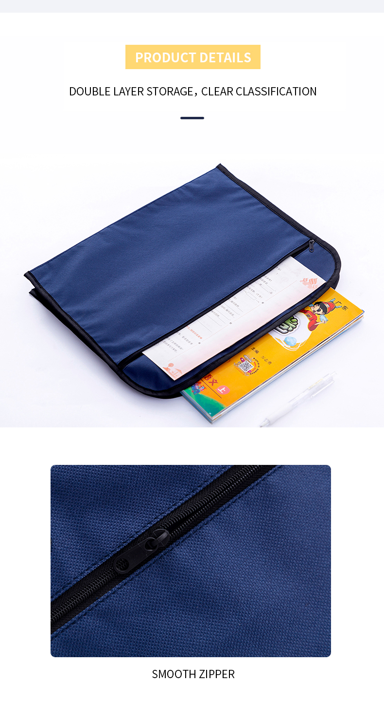 Professional zipper document file storage stationery office school bag