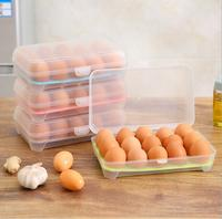 15 Eggs plastic kitchen Refrigerator Storage Box with carrier box