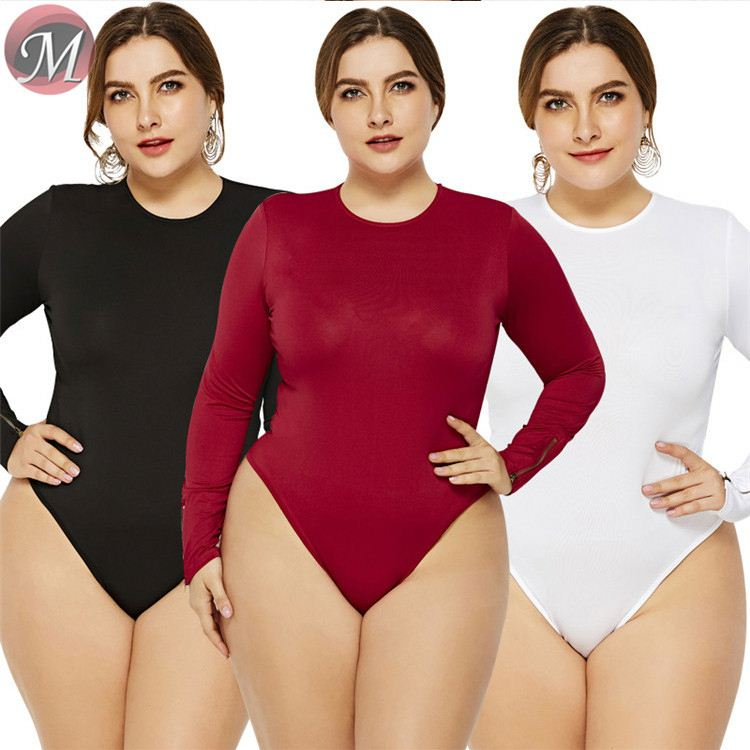 D908107 hot onsale fashion round neck long sleeve sexy new design solid color plus size <strong>women</strong> sexy tops <strong>bodysuit</strong>