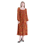 J&H Orange Long Sleeve Chiffon Print Dress for hot sale