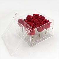 Handmade 9 Holes Clear Flower Box Customized Made Acrylic  rose  Box For Flower Chocolate