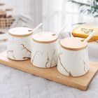 Herb Spice Tools With Nordic Style Decals Marble White Ceramic Canister Condiment Spice Set With Wood Tray / Lid