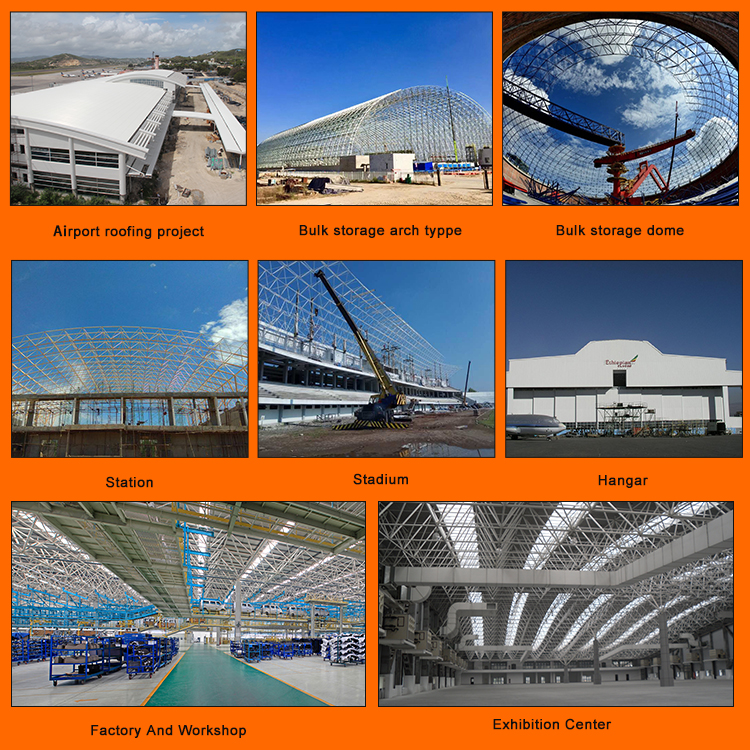 Original manufacturer prefabricated building space frame hangar roof steel structure
