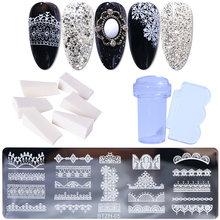 Набор пластин для штамповки ногтей с цветочным кружевом для штамповки гель-лака шаблон инструмент для рисования Plantillas трафарет Manualidades ...(Китай)