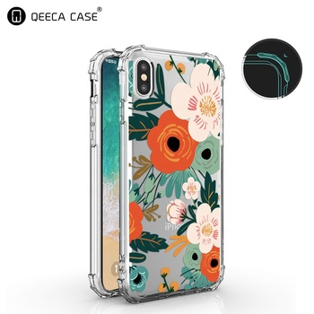 wholesale custom printed transparent clear tpu cell phone case for iphone x flower case