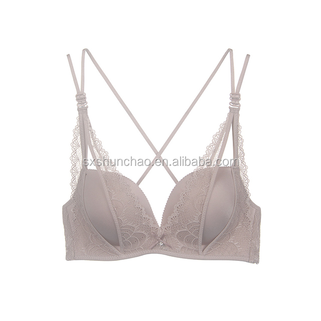Cross thin shoulder straps gather small bra thick