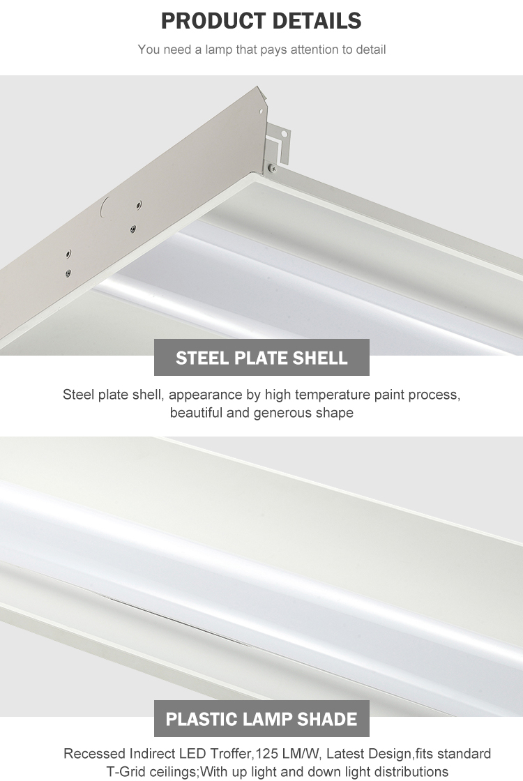 Low power steel sheet 24watt 36watt 42watt 50watt linear led troffer lamp