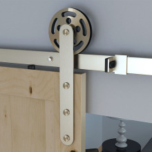Single gear hanging wheel wood sliding barn door hardware stainless steel
