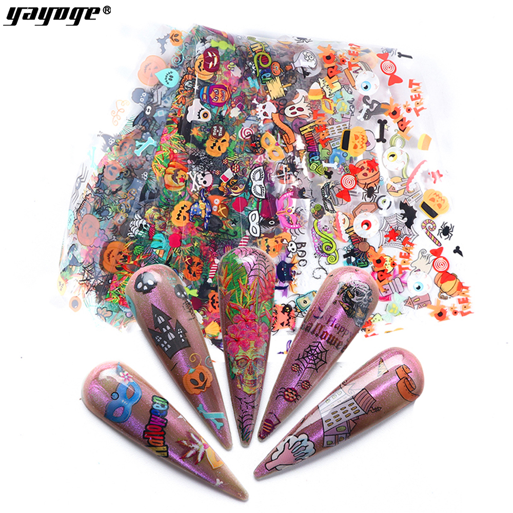 2019 holiday skull nail stickers Halloween nail stickers christmas transfer foil nail art paper stickers