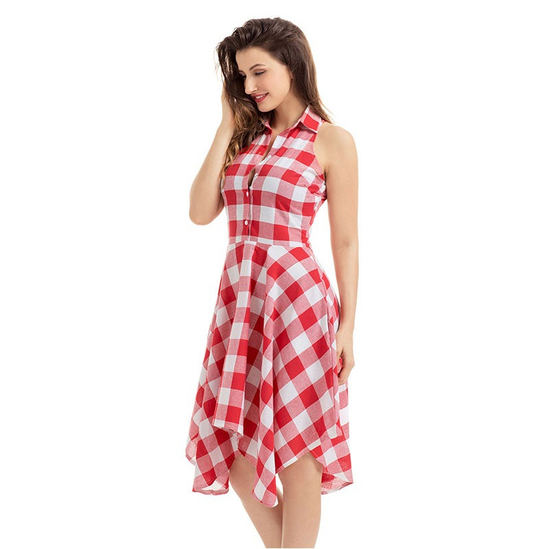 YH Checks Flared Plaid Shirtdress Explosions Leisure Vintage Dresses 2020 Summer Women Casual Shirt Dress knee-length Dress