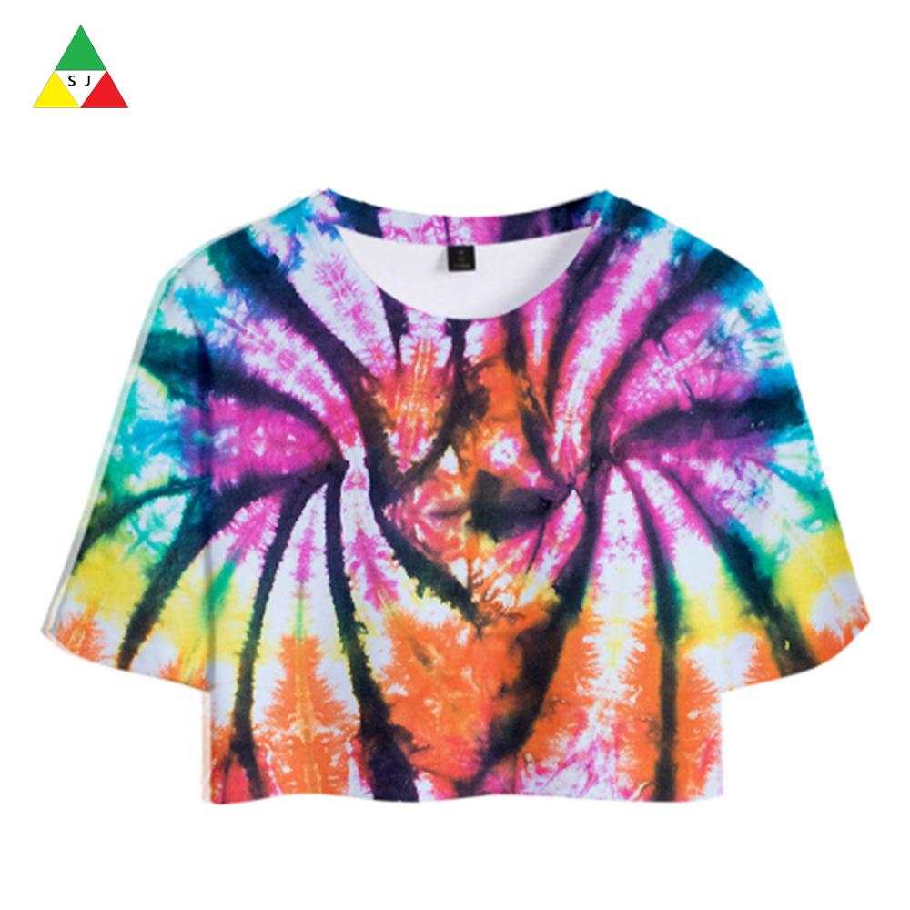 Promotional nice design 100% cotton uk size ladies fashion tie dye t-shirts