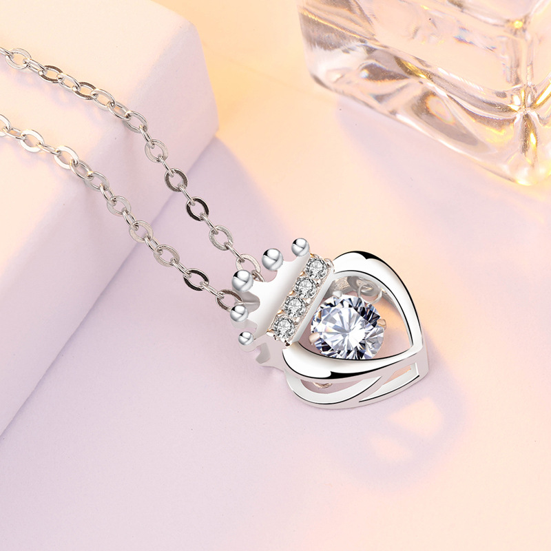 S925 sterling silver necklace queen crown and heart zircon pendant necklace for girls