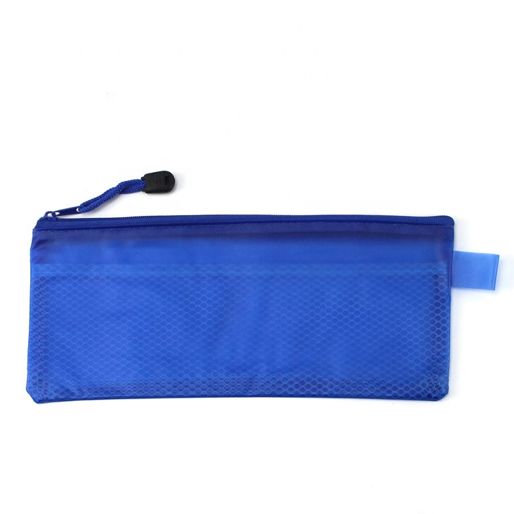 Children file PVC make up pen case mesh hold pencil bag