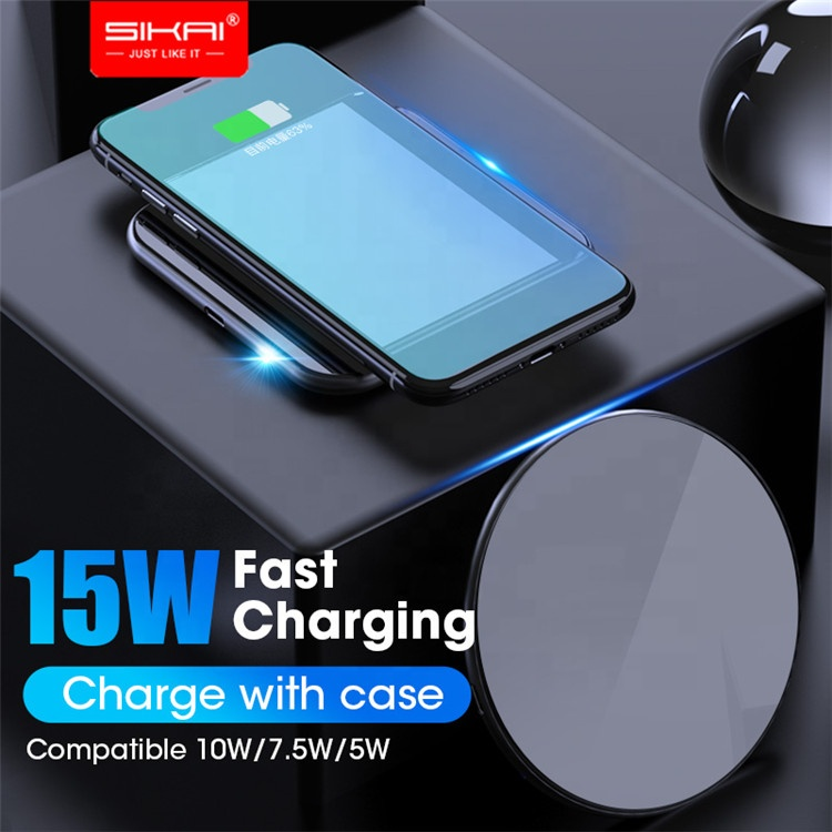 SIAKI 15W QI Quick Charging Glass Wireless Fast Charger usb tpye c QC 3.0 Mobile phone Station For iphone samsung s9 xiaomi фото