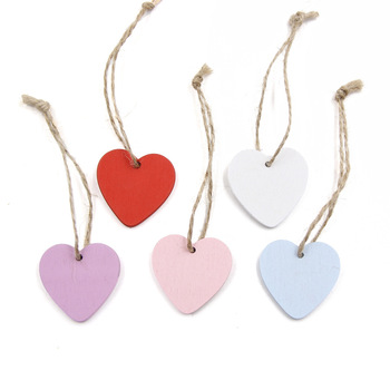 simple painted small wooden hearts craft shapes colored wood chips christmas message gift tags signs hanging crafts