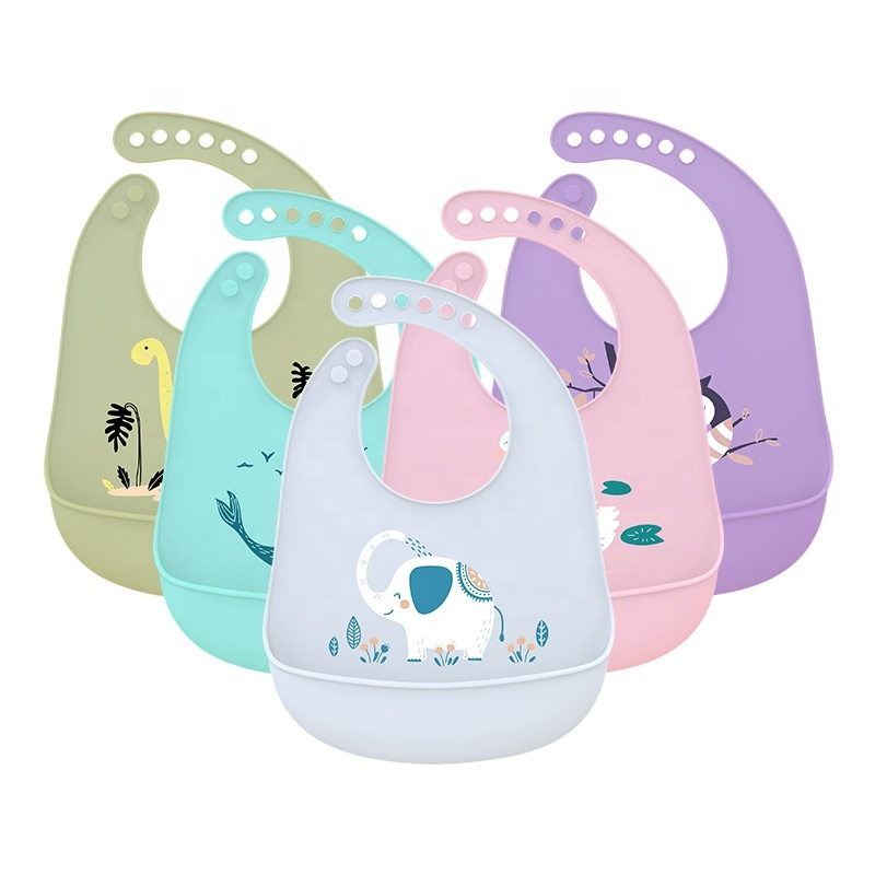 Soft Waterproof Silicone Washable Baby Bibs with Pocket Easily Clean for Baby Eating