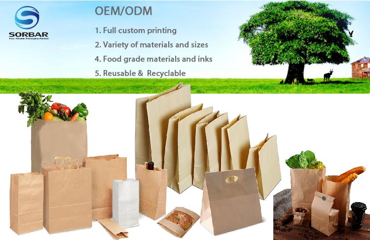Yüksek Kaliteli Ambalaj Çanta Üreticisi Gıda Kraft Kağıt Torba