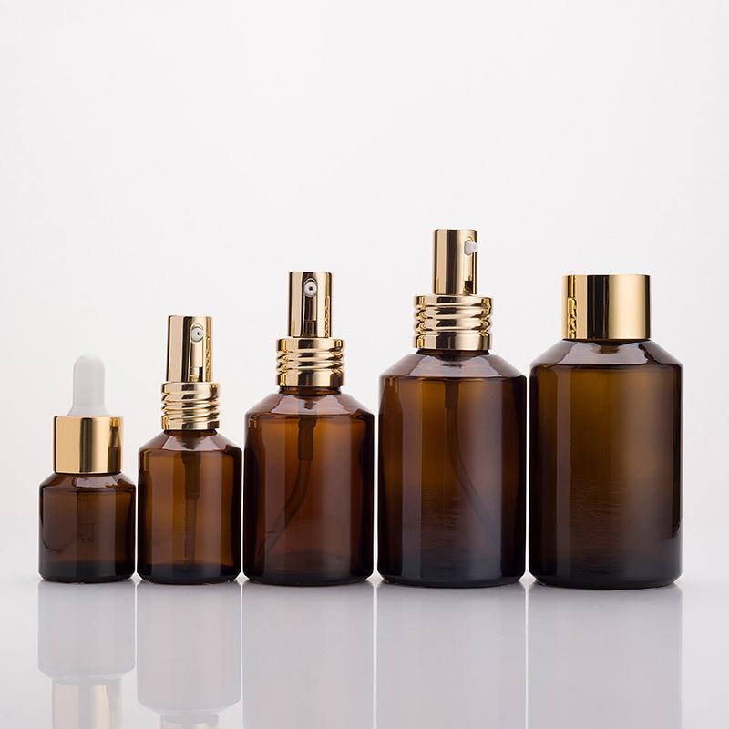 Ml de 15 30ml 60ml 100ml 120ml frasco de óleo essencial âmbar pescoço largo spray de vidro cosmético vazio fábrica de garrafas
