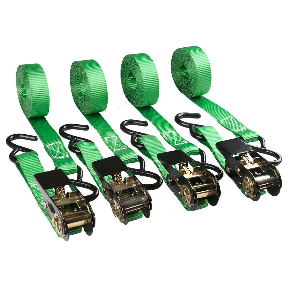 OEM 4 pack of 1 inch custom printed polyester webbing ratchet lashing straps with coated S hook