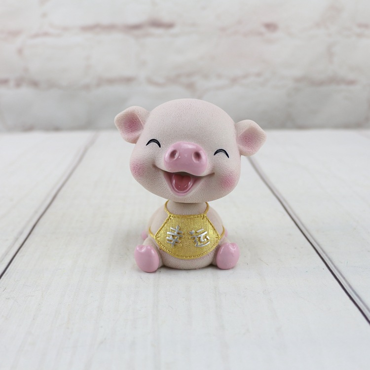 Resin Pig Toys Car Accessories Interior Decoration Pig Bobble Head Dolls Home Decor