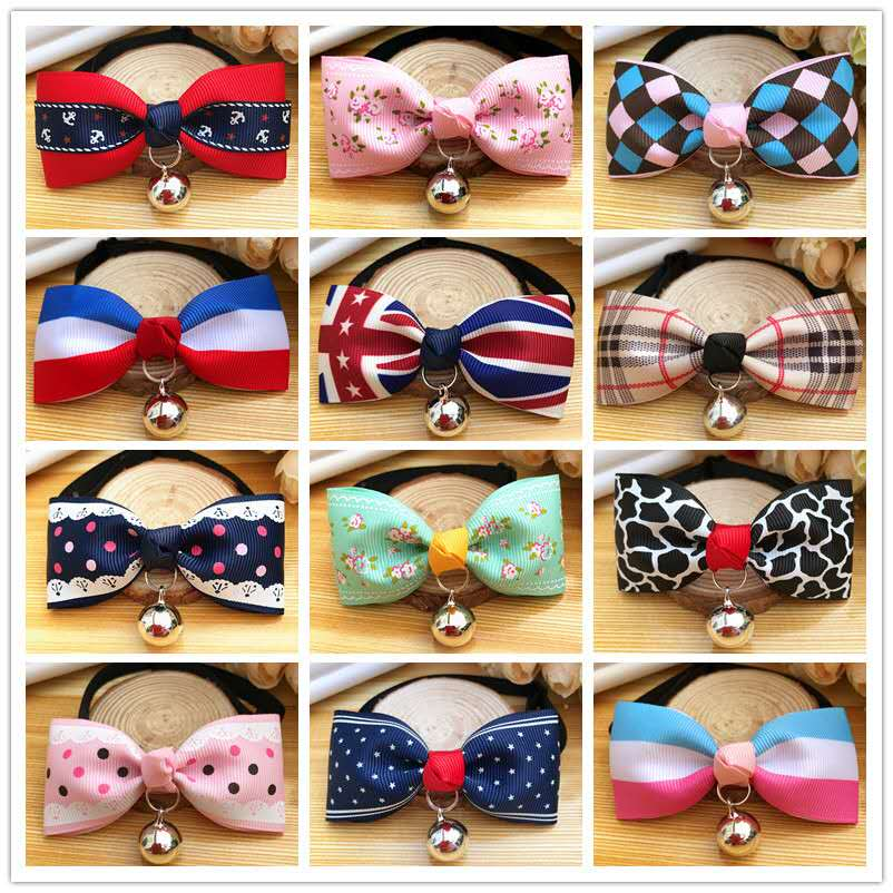 Wholesale colorful pet bowtie small dog cat bow tie with bell