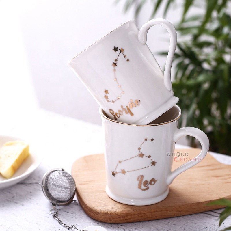 Hot Selling Microwave Safe Real Gold Decal Print Personalized Zodiac Ceramic Coffee Cup Wholesale In China