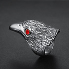 Titanium Ring Drop Ring European And American Men Retro Inlaid Gem Personaliied Titanium Steel Eagle Head Ring