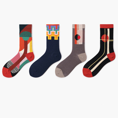 Yueli creative socks Collision color men happy socks spread happiness
