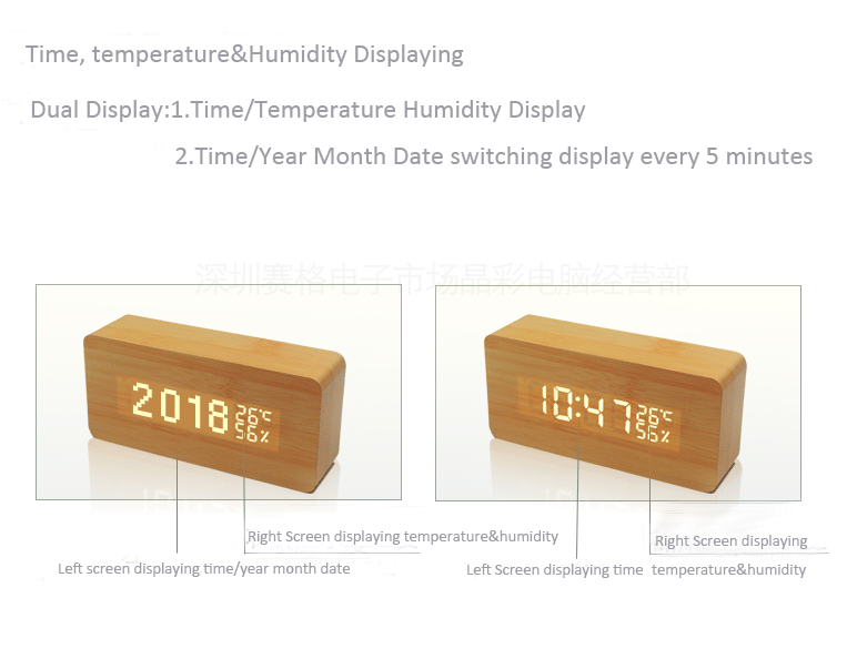 OEM&ODM Multifunctional LED Digital Wooden Alarm Clock With Acoustic Control Sensing Time Date Temperature Indicate
