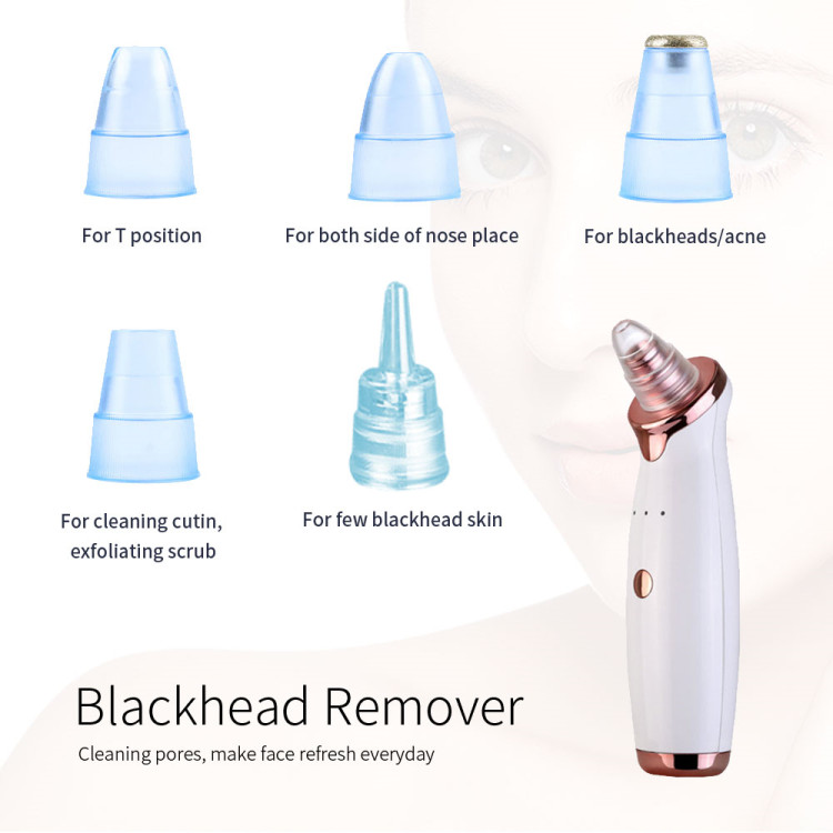 5 Head pore cleanser vacuum electric suction facial comedo acne remover extractor tool kit blackhead remover vacuum