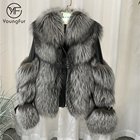 Hot Sale Cool Winter Warm Ladies Double Face Fix Fur Jackets Sheepskin Leather Jacket